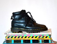 Amazing 90s Black Dr. Martens Boots Size Women 7 // Vintage Doc Marten Black Boots Size 5 Mens Made in England on Etsy, $125.00  I WANT THESE