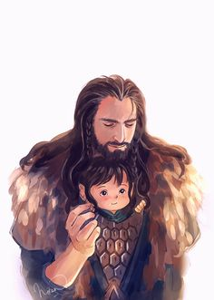 uncle Thorin , by megatruh.deviantart.com...awww, baby Kili X) these are so cute :)
