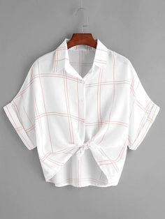 SheIn offers Grid Print Knot Front Cuffed Blouse & more to fit your fashionable needs. Girls Fashion Clothes, Teen Fashion Outfits, Moda Casual, Fall Shirts, Women's Shirts, Plaid Shirts, Crop Top Outfits, Mode Streetwear, How To Roll Sleeves