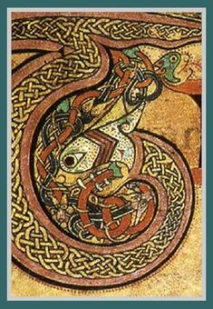 Detail of Serpents, lions, and vines from the Book of Kells (ca. 800 AD)