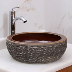 Natural Rock Vessel  Bathroom Sink