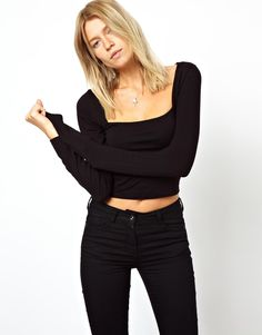 Image 1 of ASOS Square Neck Crop Top