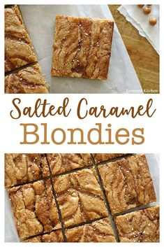 These Salted Caramel Blondies truly are the best ever. Not only do they taste amazing, but the recipe is incredibly easy (no need to soften butter or use a stand mixer). Everyone who tries one loves them! Make this delicious dessert today! Caramel Blondie Recipe, Brownie Recipes, Cookie Recipes, Pumpkin Recipes, Fun Baking Recipes, Cupcake Recipes, Gourmet Recipes, Sweet Recipes, The Best Dessert Recipes