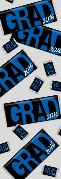 Graduation Party Favors / Grad Party Ideas for Boys: Personalized HERSHEY'S chocolates for Candy Buffets