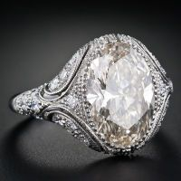 Vintage Style 4.44 Carat Oval Diamond Engagement Ring - Lang Antiques