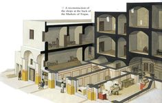 Reconstruction of shops at Trajan's markets in the centre of Rome