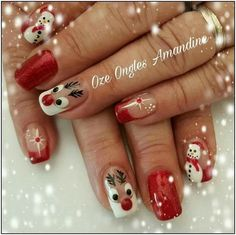 155 festive christmas nail art designs & ideas page 29 Nail Art Noel, Xmas Nail Art, Fancy Nails, Cute Nails, Pretty Nails, Christmas Gel Nails, Holiday Nails, Creative Nail Designs, Christmas Nail Art Designs
