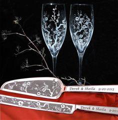 Cherry Blossom Wedding champagne flutes, cake server and knife set for Spring Wedding:  www.BradGoodellWeddings.com