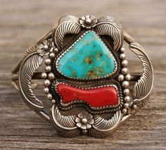 NAVAJO NATIVE AMERICAN VINTAGE CUFF BRACELET STERLING SILVER TURQUOISE & CORAL #EB
