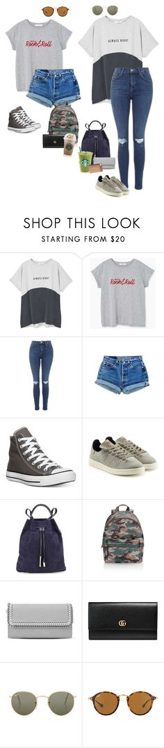 """Rockin' at Starbucks"" by audrey-balt on Polyvore featuring MANGO, Topshop, Converse, adidas Originals, Halston Heritage, Rebecca Minkoff, STELLA McCARTNEY, Gucci and Ray-Ban"