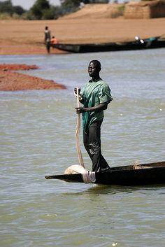 fisherman, Bani River, Mali.  Photo: hubertguyon, via Flickr
