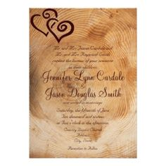 Custom Rustic Country Wood Hearts Wedding Invitations created by CustomWeddingSets. This invitation design is available on many paper types and is completely custom printed. Burlap Wedding Invitations, Discount Wedding Invitations, Invites, Invitation Ideas, Invitation Templates, Country Wedding Cakes, Wedding Rsvp, Wedding Ideas, Wedding Stuff