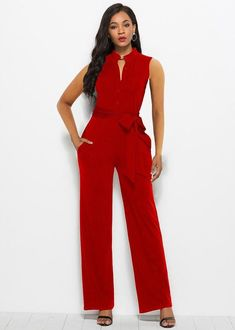 Stand Collar Buttoned Sleeveless Self Belt Going Out Wide Leg Jumpsuit Casual Skirt Outfits, Trendy Outfits, Club Outfits For Women, Clothes For Women, Plus Size Going Out Outfits, White Off Shoulder Dress, Fall Skirts, Ladies Dress Design, Feminine Style