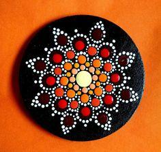 Wood Magnet ~ Coral & Burgundy Wine Flower Mandala ~ Hand Painted by Miranda Pitrone  gift idea/dot art/pointillism Boho Style