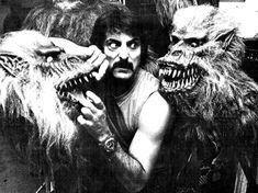 Tom Savini on the set of CreepShow...haha I want one of these monkeys