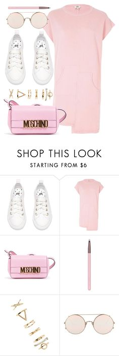 """""""Eye Candy"""" by monmondefou ❤ liked on Polyvore featuring River Island, Moschino, Luxie, Forever 21, Sunday Somewhere, white and Pink"""