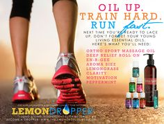 Young Living Essential Oils for running. En-R-Gee, Aroma Siez, Lemongrass, Clarity, Motivation, Peppermint. Click to sign up as a distributor (member) to get wholesale pricing! Comment to contact me for assistance or info!