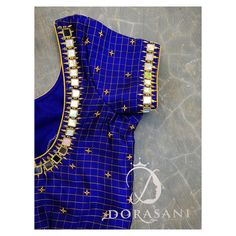 40 check blouse design to inspire you this season - Wedandbeyond Simple Blouse Designs, Stylish Blouse Design, Saree Blouse Neck Designs, Sari Blouse, Blue Blouse, Mirror Work Saree Blouse, Mirror Work Blouse Design, Maggam Work Designs, Designer Blouse Patterns