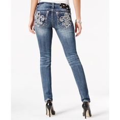 Miss Me Fleur-De-Lis Embellished Skinny Medium Blue Wash Jeans ($100) ❤ liked on Polyvore featuring jeans, dark blue, skinny fit denim jeans, denim skinny jeans, fleur de lis jeans, embellish jeans and super skinny jeans