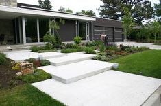 dark cladding colour great wide entrance steps - offset contemporary landscape by Phillips Garden