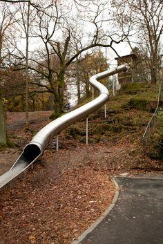 Tunnel slide at Plitka Park in Sweden.