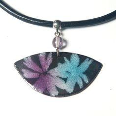 Hana Bendová - necklace (enamel on copper, steel wire, glass bead, leather)