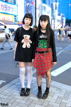 Rock Style Harajuku Girls w/ Devilish Tee, Winged Backpack & Hysteric Glamour
