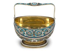 Russian silver-gilt and cloisonne bowl