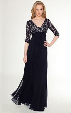 Navy Lace and Chiffon Gown with Empire Waist I am saying yes to this dress!  Love it.