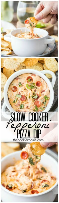 Slow Cooker Pepperoni Pizza Dip - Throw the ingredients in a slow cooker and forget about them! DELICIOUS!