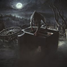 #art #werewolf #dark #night #full #moon