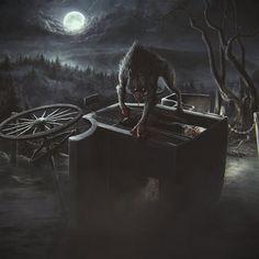 #art #werewolf #dark #night #full #moon