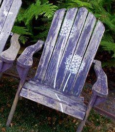 stenciled lawn chair  www.cuttingedgestencils.com  #stencils