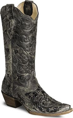 Corral Black Caiman Inlay Cowgirl Boot - Snip Toe....next on my list.