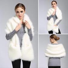 New Women Faux Fox Fur Scarf Shawl  Winter Warm Ladies Wraps Cape Coat White