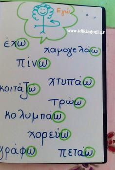 Κατάληξη -ω στο εγώ των ρημάτων Vocabulary Exercises, Grammar Exercises, Learn Greek, Greek Language, Special Needs Kids, Learning Disabilities, Exercise For Kids, Dyslexia, School Hacks