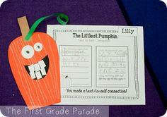 The Littlest Pumpkin- text-to-self connections--reading buddies 1st Grade Writing, First Grade Reading, Classroom Fun, Classroom Activities, Classroom Projects, Craft Projects, Text To Self Connection, First Grade Parade, Reading Buddies