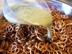 Seasoned Pretzels. 18 oz pretzels, 1/2 C olive oil, 1 envelope original Hidden Valley Ranch, 1 tsp dill weed & 1/2 tsp garlic powder.