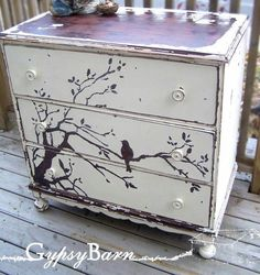 Artistically painted chest of drawers dresser with bird on tree branch, chic…