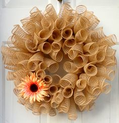 Spiral Faux Burlap Deco Mesh Wreath - Spring Wreath - Summer Wreath - Door Decoration - Burlap Wreath on Etsy, $66.00