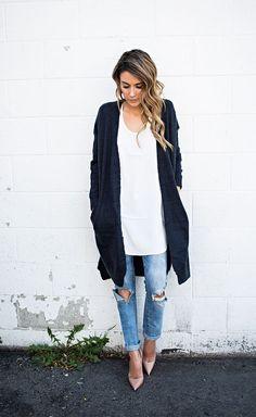 Long Cardigan / Ripped Jeans / Pumps http://FashionCognoscente.blogspot.com