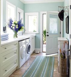 Small Laundry Room Colors | Small Space Laundry Room Paint Color Ideas » Blue and white color ...