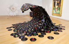 "valeriavega: "" Artist: Jean Shin ""Sound Wave"" Art installation made from melted records on a wooden armature. ft h x 12 ft w x 12 ft d) "" I'd put this in the living room. Music Waves, Sound Waves, Wave Art, Surf Art, Korean Artist, Art Plastique, Installation Art, Art Installations, Amazing Art"