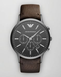 Emporio Armani Sportivo Leather-Strap Chronograph Watch $345