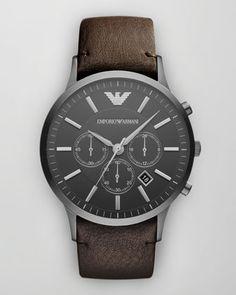 Emporio Armani Sportivo Leather-Strap Chronograph Watch $345