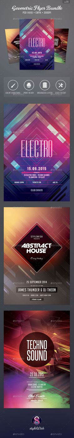Massive Party Flyer Fonts, Festivals and Texts - geometric flyer template