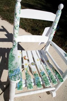 children rocker   handpainted childrens rockers  ,   baby shower  ,  rocking chairs  ,  childrens furniture   butterfly wildflower   nursery. $115.00, via Etsy.