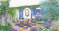 Aus einer Schmuddelecke mit Kompost, alten Töpfen und Gerümpel wird eine gemütliche Sitzecke. Wir präsentieren zwei Gestaltungsideen mit Pflanzplänen zum Herunterladen und Ausdrucken.