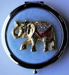 Purse Handbag Double Compact Cosmetic Mirror - Jeweled Elephant by Gift Square DÃÂcor -- Awesome products selected by Anna Churchill