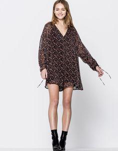 Pull&Bear - femme - vêtements - robes - imprimés - combinaison imprimé floral - noir - 05394330-V2017